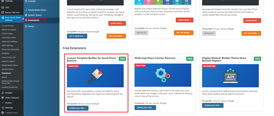 Easy Social Share Buttons free extension my template builder